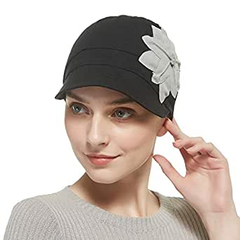 Bamboo Fashion Hat for Woman Daily Use with Brim Visor, Hats for Cancer Chemo Patients Women - Black - One Size