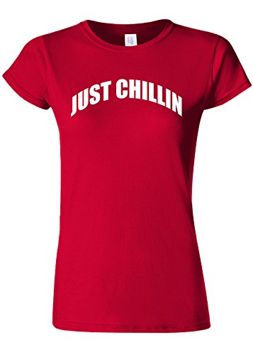 フィットネスサラミ服Just Chillin` Chilling Cool Novelty Cherry Red Women T Shirt Top-L