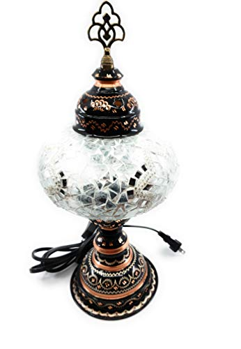 (Handcrafted Turkish Mosaic Glass Table Lamp with Brass Base and Finial (Silver &)