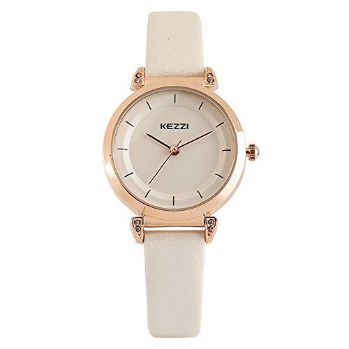 ch, No Numeral Dial, Slim Waterproof Leatherette Strap, Elegant OL Wristwatch (White) ()