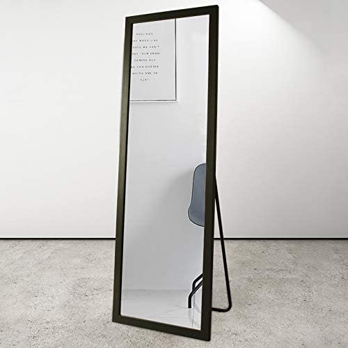 BOLEN Full Length Mirror PS Polymer Frame Mirror Standing Hanging or Leaning Against Wall Mirror Dressing Mirror 65 x22 Black