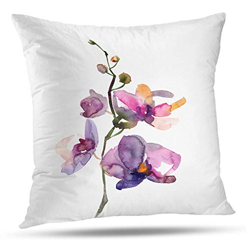 Batmerry Spring Pillows Decorative Throw Pillow Covers 18x18 Inch, Yellow Flowers Purple Leaves Sketch Double Sided Square Pillow Cases Pillowcase Sofa Cushion ()