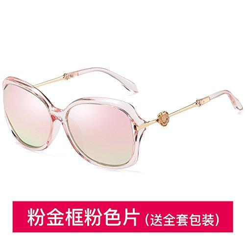 Boîte en or rose polariseur rose  Sunyan Le Nouveau Visage Rond Brillant Lunettes Lunettes de marée féminin Visage voitureré Retro