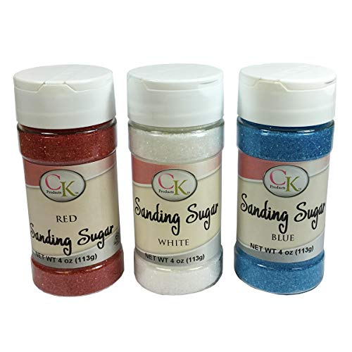 CK Products Red, White, and Blue Sanding Decorating Sugar 3 Pack Bundle