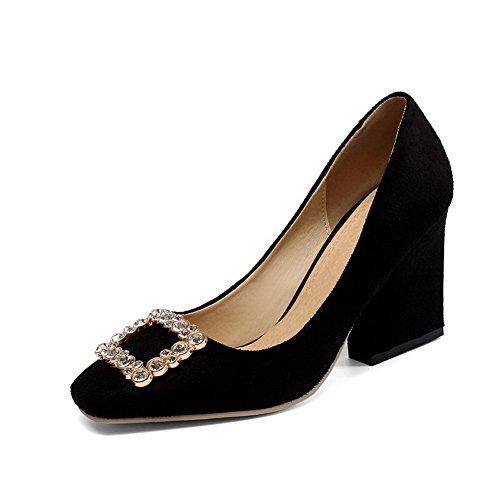 VogueZone009 Damen Ziehen auf Hoher Absatz Nubukleder Rein Quadratisch Zehe Pumps Schuhe Schwarz