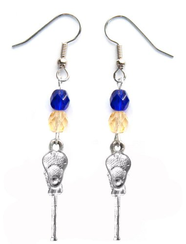 ''Lacrosse Stick & Ball'' Lacrosse Earrings (Team Colors Royal Blue & Gold) by Edge Sports