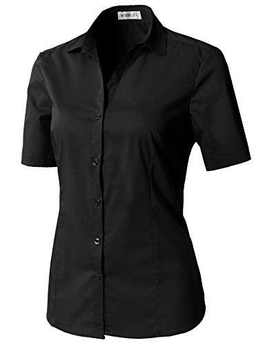 (CLOVERY Women's Tailored Short Sleeve Basic Simple Button-Down Shirt with Plus Size Black 2XL)