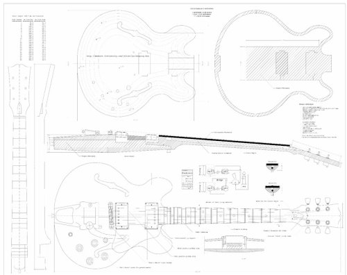 Set Of 3 Gibson Electric Guitar Plans Es 335 Cs 356