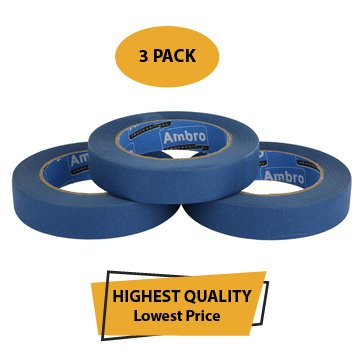 Ambro Professional Painters Tape Multi Surface Use 14 Day Clean Removal (Blue) 3 PACK 60Yards (1 Inch)