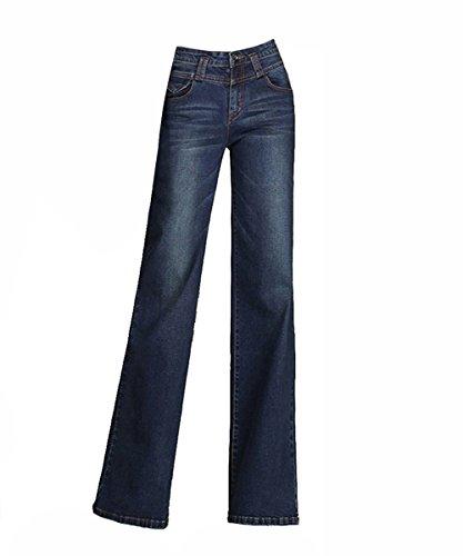 Femme lgantes Pantalons de Denim Jambe Large Dcontracte Jupe-Culotte Pants Bootcut Jean Bleu Fonc