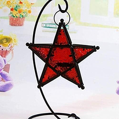 クリスマスキャンドルホルダー錬鉄キャンドルホルダースターガラスローソク足ホームデコレーションホームキャンドルスタンド50X126のクリスマスデコレーション、赤