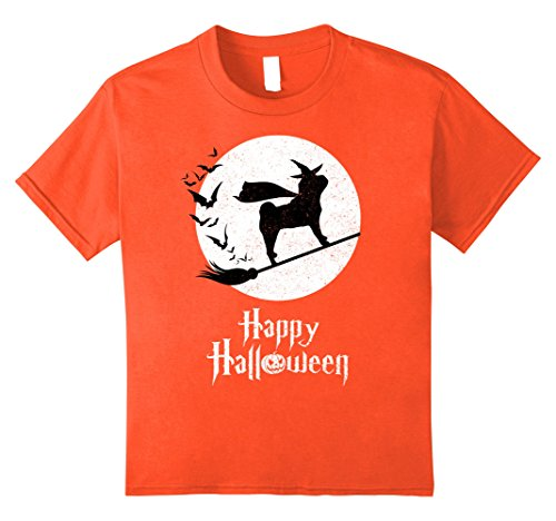 Shar Pei Halloween Costumes (Kids Witch SHAR-PEI Orange T-shirts Halloween Costume 12 Orange)