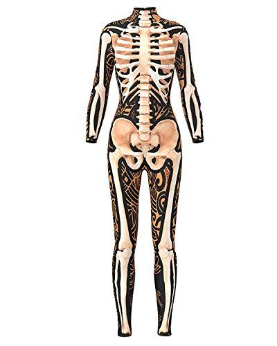 Women 3D Style Halloween Cosplay Costumes Jumpsuit Bodysuit (Small, Yellow Skeleton Jumpsuit) ()
