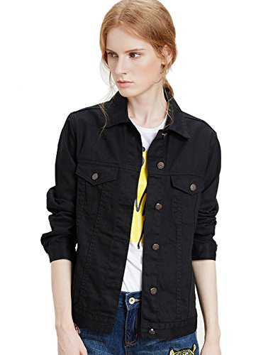 Black Denim Stretch Jacket - ZLSLZ Womens Basic Long Sleeve Boyfriend Solid Trucker Denim Jean Jackets Coats Outerwear (M, Black)