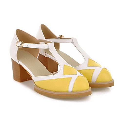 VogueZone009 Womens Closed Pointed Toe Kitten Heel Chunky Heels PU Soft Material Assorted Colors Sandals Yellow rjMkeG