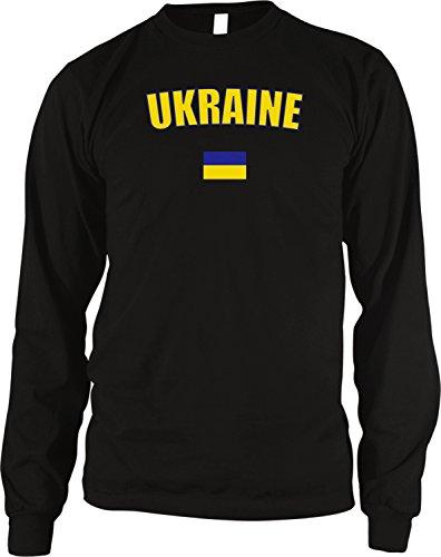 - Ukraine Country Flag Men's Long Sleeve Thermal Shirt, Amdesco, Black Large