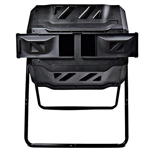 (Goplus Compost Tumbler Outdoor Garden Waste Bin Grass Food Trash Fertilizer Barrel Black (43-Gallon))