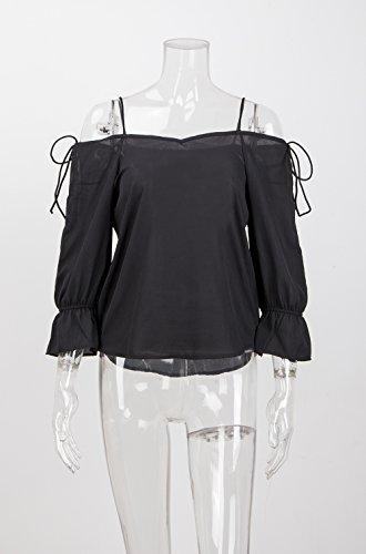 Collo Donna Larghi Halter Bluse Chic Casual Camicette Top Ragazza Elegante Lunga Abbigliamento Chiffon Hop Nero Manica Moda V Hip Shirt Blusa Vintage FwY8qY