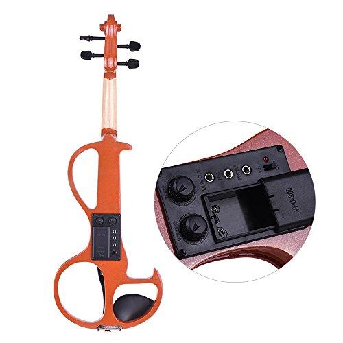 ammoon Violin Electric Silent Tamaño Completo 4/4 Madera Maciza Fiddle Style-3 Clavijas de Diapasón de Ébano Chinette de Descanso de Chin con la Caja: ...