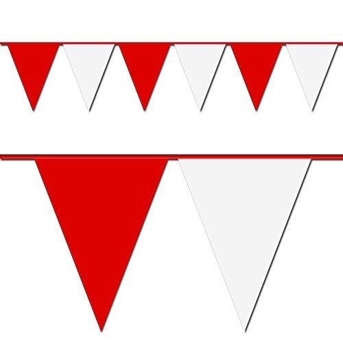 Red and White Triangle Pennant Flag 100 Ft. -