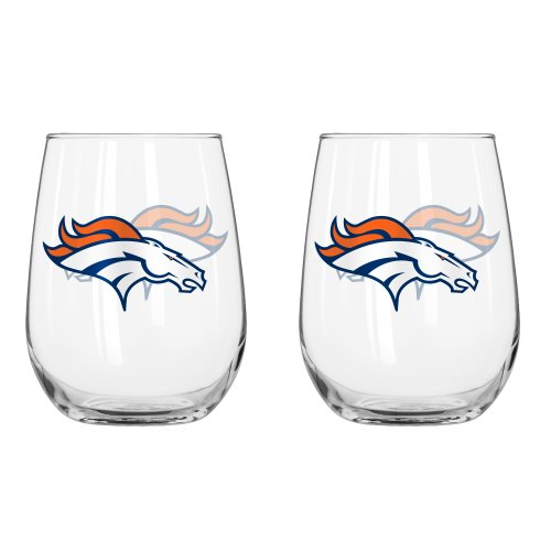 Denver Broncos Glass - NFL Denver Broncos Curved Beverage Glass, 16-ounce, 2-Pack