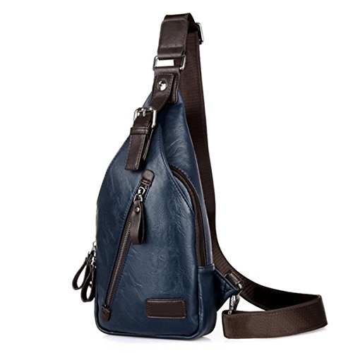 Men's Chest Leather Shoulder Bag, Gracosy Crossbody Bag Multi Pocket Outdoors Travel Backpack Fashion Casual Sling Bags Satchel Backpack Blue 7.0×1.5×12.9 inch