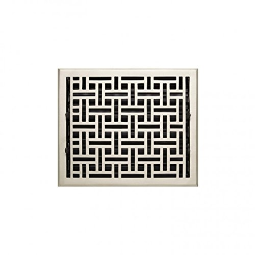 Naiture 8'' x 12'' Oversized Solid Brass Floor Register Wicker Style Brushed Nickel Finish