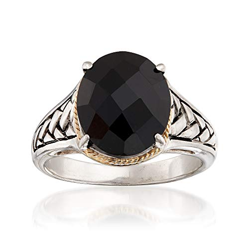 Ross-Simons Oval Black Onyx Braid Ring in Sterling Silver and 14kt Yellow Gold