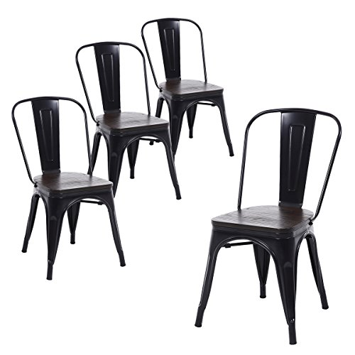 Wood Seat Metal - Buschman Set of Four Matte Black Wooden Seat Metal Indoor/Outdoor Stackable Chairs with Back