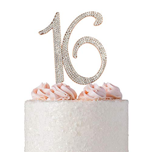 Sweet 16 ROSE GOLD Cake Topper | Premium Crystal Rhinestone Diamond Crystal Bling Gems | Monogram Number Sixteen | 16th Birthday Party Decoration Ideas | Perfect Keepsake (16 Rose Gold)