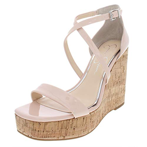 Jessica Simpson Womens Stassi Patent Platform Wedges Pink 12 Medium (B,M) ()