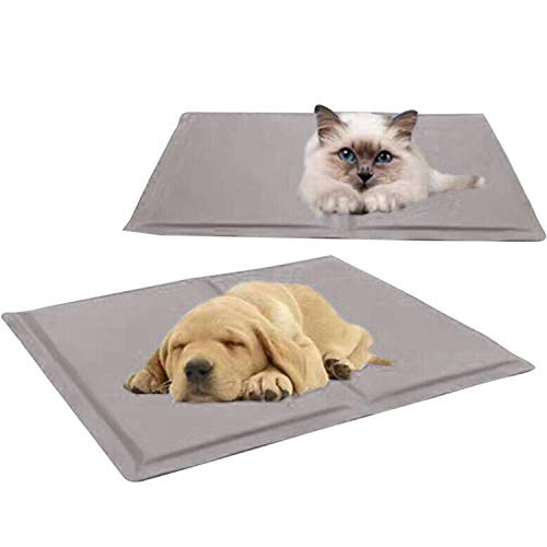 (ZZmeet Pet Cooling Mat Non Toxic Pet Cooling Pad Cushion Summer Dog Cool Mat Bed Soft Cool Cat House Mat Pet Bed Cooler Mat Pad Gel,Blue,30x40cm)