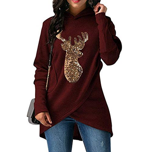 Wine Gold Red Elk Print Alian Long Christmas Cape Top Asymmetrical Hooded Sleeve Sweater 7wZqP