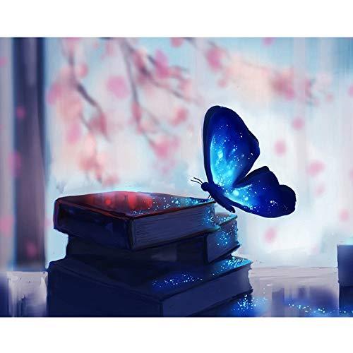 5D Diamond Painting Rhinestone Science Fiction Butterfly Dream Blue Embroidery Wallpaper DIY Wall Sticker by Number Kits Full Drill Kits Full Drill Cross Stitch Arts 30X30CM (13) -