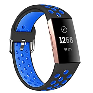 Accken Compatible for Fitbit Charge 3/ Charge 4 Special Edition Strap, Silicone Replacement Sport Accessory Wrist Band…