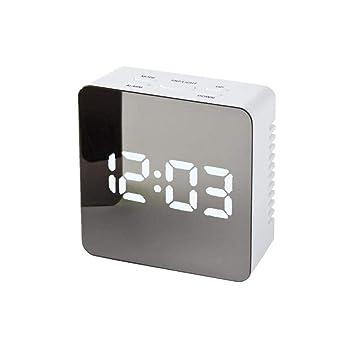 LFLB Espejo de Espejo Multifuncional Reloj Despertador LED indicador Digital electrónico Despertador Reloj Rectangular: Amazon.es: Deportes y aire libre