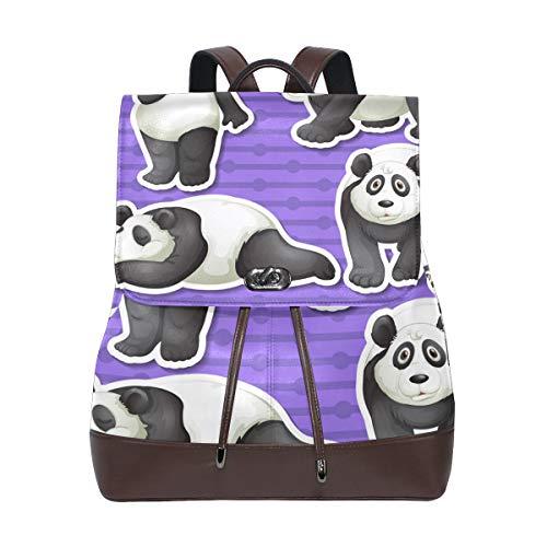 Panda set ryggsäck handväska mode PU-läder ryggsäck ledig ryggsäck för kvinnor