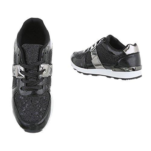 Design Bajas para G Mujer Zapatillas Negro Plano Plateado 102 Zapatillas Ital Zapatos qd0XAwX