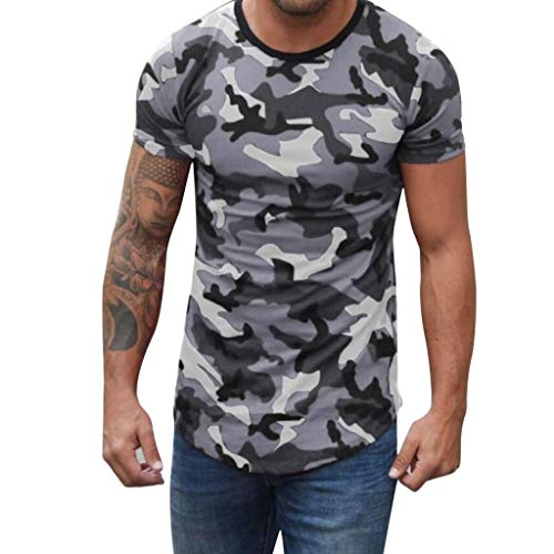 TANGSen_Mens Camouflage Print T-Shirt Compression Crossfit Fashionable Top O-Neck Men Fitness Elastic Summer Shirt