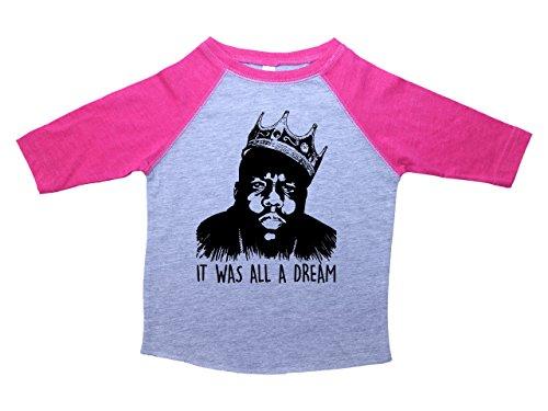 Baffle Biggie Smalls Raglan Toddler Tee/IT was All A Dream/Notorious Big (4T, Heather & Pink)