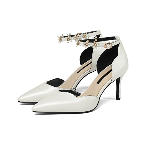 Cuir Chaussures Talons Seasons Femmes Véritable Escarpins Shoes DKFJKI Four Low Shoes white Creux pour Aiguilles xtdqXXZ