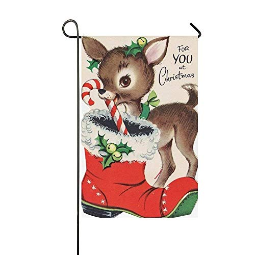 Jagfhhs for You at Christmas Deer Candy Cane Bells Garden Flag Holiday Decoration Double Sided Flag