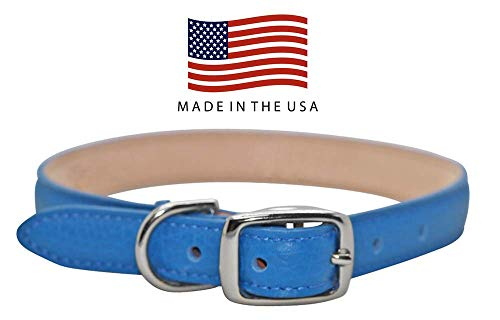 Real Leather Creations Dog Collar - Blue Genuine Colorado Leather - American Factory Direct - Various Sizes and Colors - Prime Quality - Made in USA Small FBA871