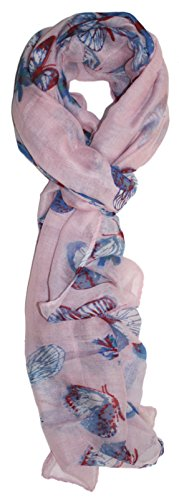Cool Pink Butterfly Print - Ted and Jack - Graceful Butterflies Allover Print Scarf (Pale Pink)