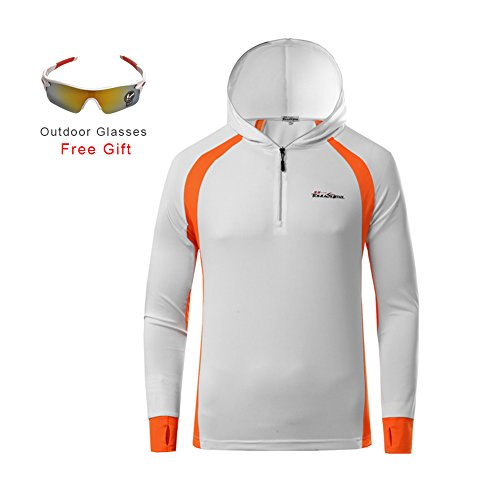 RGTOPONE Man Long Sleeve Polyester Fishing Jacket Zip-up Rash Guard Cycling Jersey Sun-protective Outdoor Moisture-wicking Fast Dry Clothes (3XL, White+orange) (Fish Hunter 360)