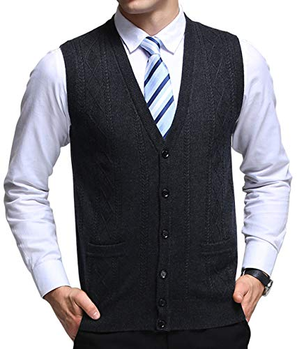 chouyatou Men's V-Neck Jacquard Lightweight Wool Knitwear Vest Sweater Waistcoat Pocket (Medium, Dark Grey)