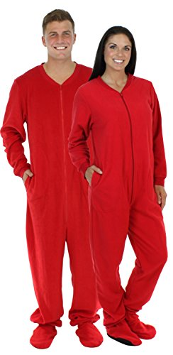 SleepytimePjs Adult Red Fleece Onesie Pjs Footed Pajama-Women (ST17-W-RED-SML)