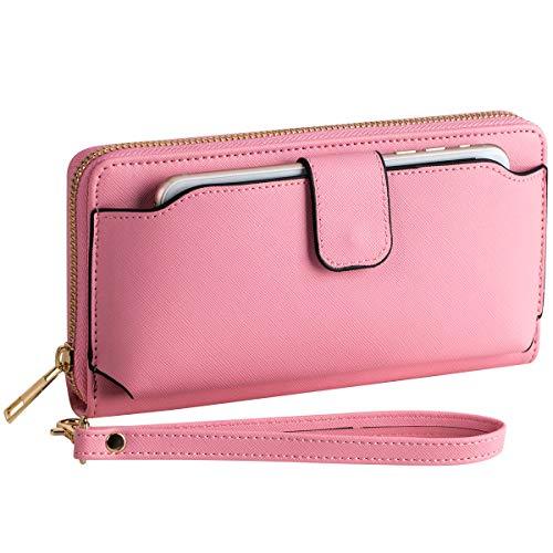 Heaye Wristlet Wallet with Cell Phone Holder for Iphone Samsung Women Wallet RFID Blocking Zip Around 8.3 4.3