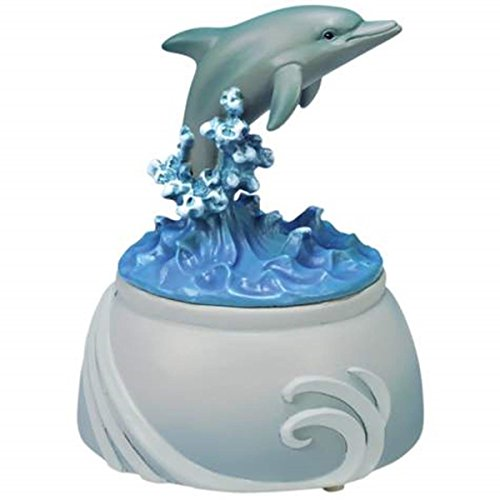 WL SS-WL-20806 Silver Dolphin Musical Figurine with Splashing Blue Waves, 4""