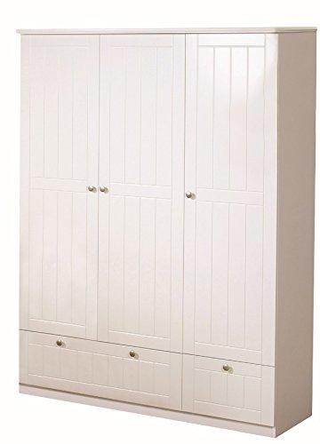 roba 3-türiger Kleiderschrank Dreamworld 3, weiß, Schrank mit 2 Schubladen, 3 Türen, Kleiderstange und 4 Einlegeböden, Drehtürenschrank für Jugend- und Kinderzimmer